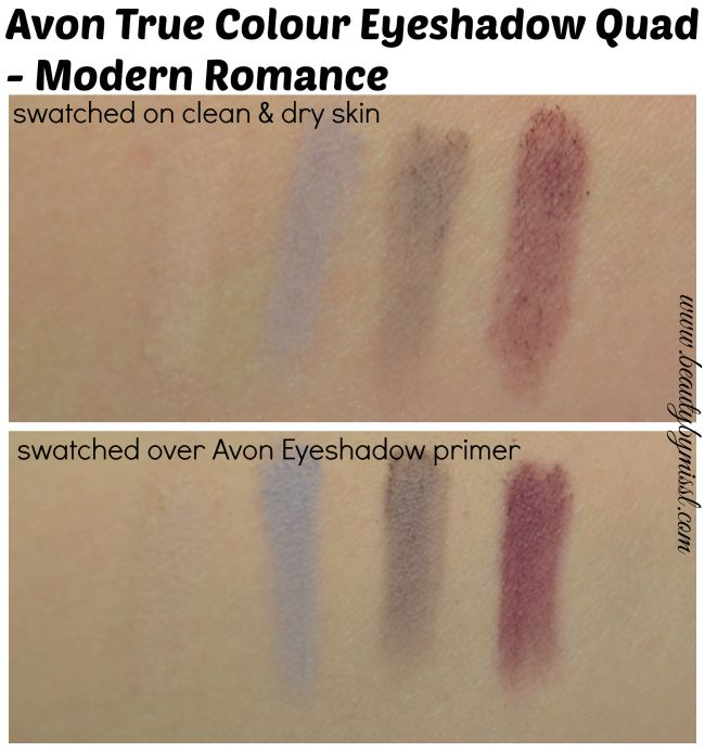 Avon True Colour Eyeshadow Quad - Modern Romance swatches