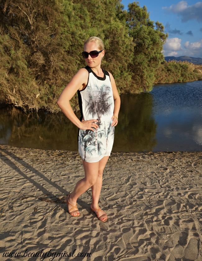 SheIn mini dress and Ecco sandals