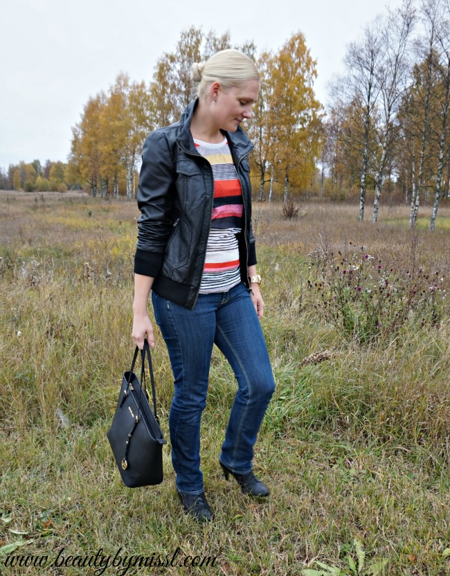 fall outfit featuring striped top from SheIn