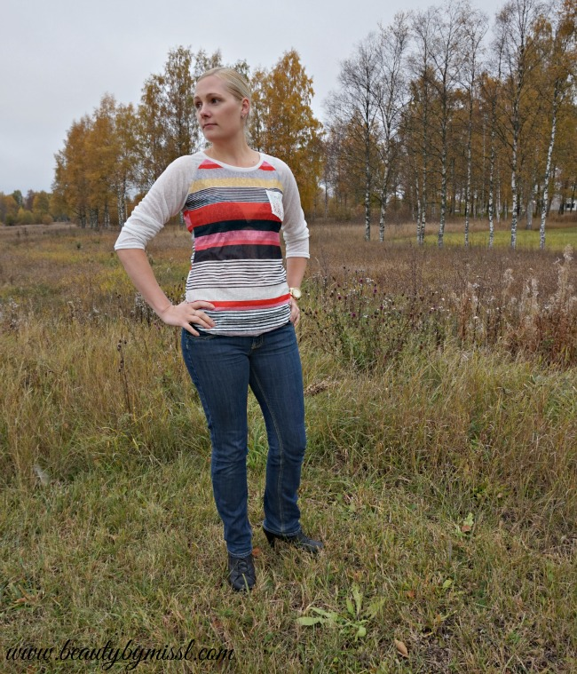 Multicolor Round Neck Striped Pocket Sweater from SheIn | www.beautybymissl.com