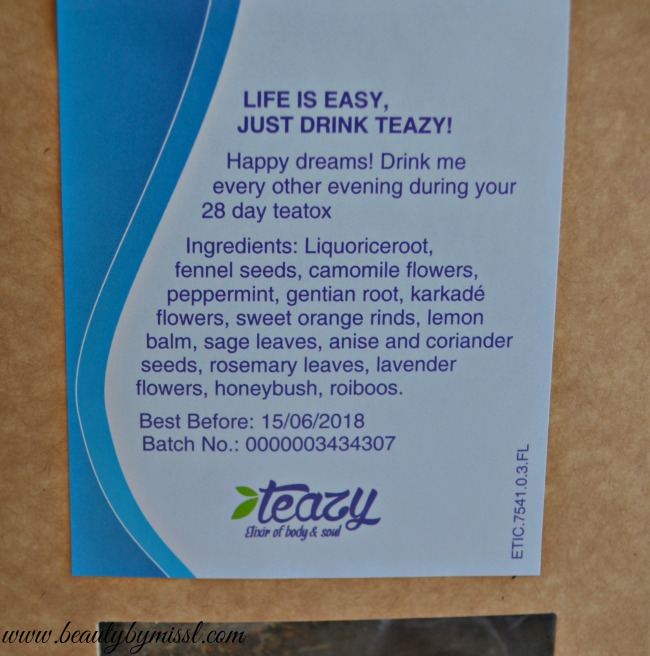 Teazy 28 Day Bedtime detox tea ingredients