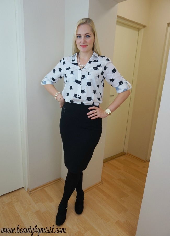 black Marks & Spencer pencil skirt & black and white cat print blouse from SheIn