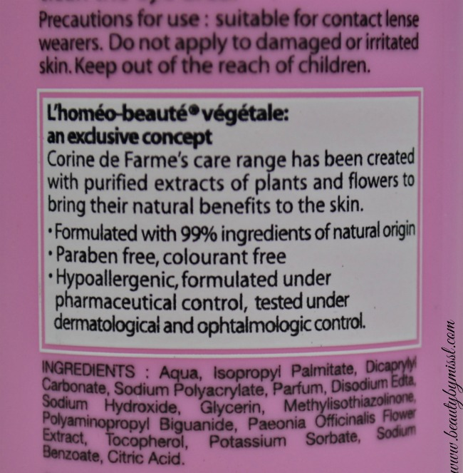 Corine de Farme Eye Makeup Remover Lotion ingredients
