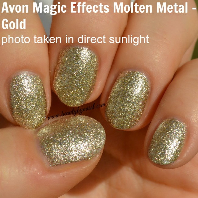 Avon Magic Effects Molten Metal nail polish in Gold in direct sunlight