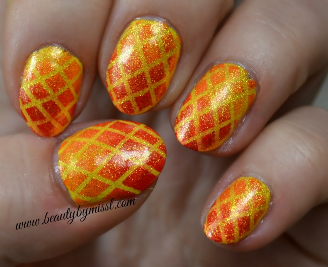 orange, red and yellow nails