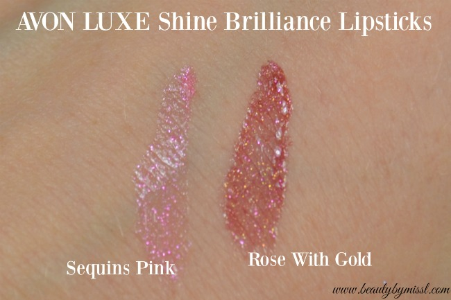 Avon Luxe Shine Brilliance Lipstick - Sequins Pink & Rose With Gold swatches
