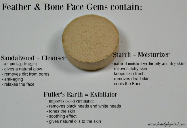 Feather & Bone Face Gems contain sandalwood, starch, fuller's earth
