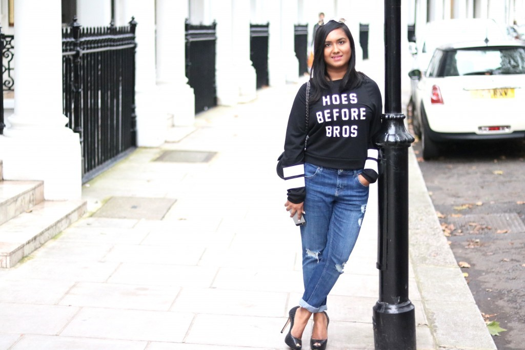 Debonita from Elegantly Fashionable styled last week SheIn sweatshirt