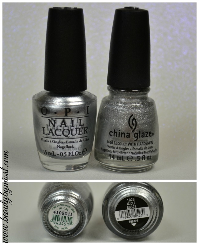 OPI Turn on the Haute Light vs China Glaze Icicle