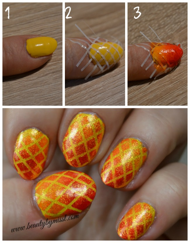 checkered orange, red and yellow nails