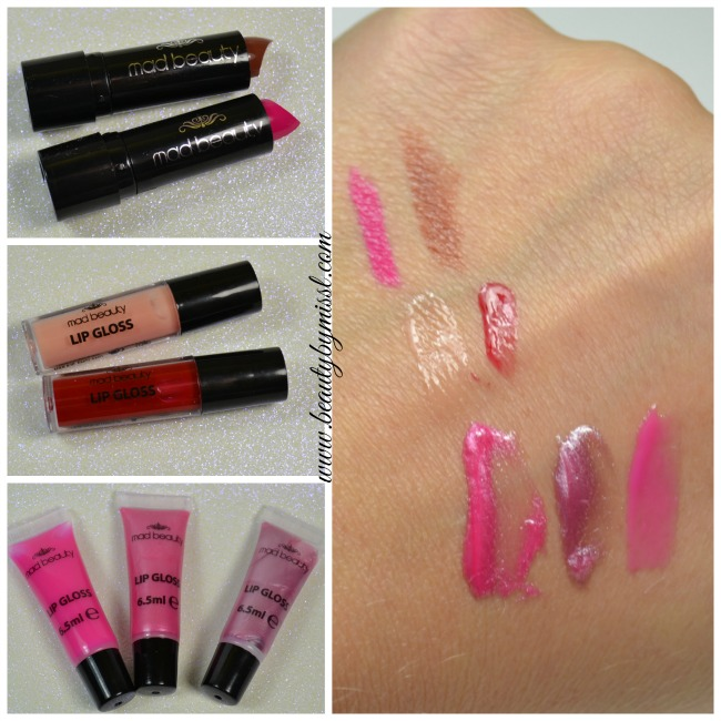 Mad Beauty lip glosses and lipsticks swatches