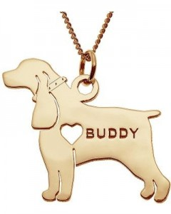 Personalized Cocker Spaniel 14K Yellow Gold Over Sterling Pendant Necklace