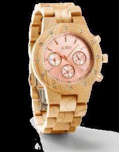 Jord Sidney Series Maple & Rose Gold Watch