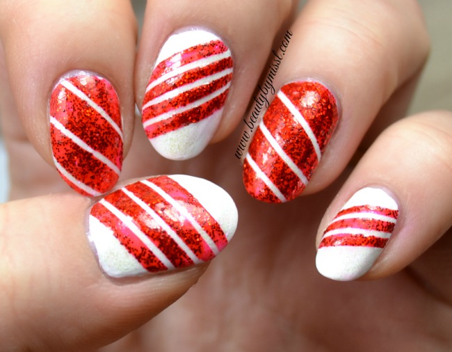 12Daysofchristmasnailart candy cane nails