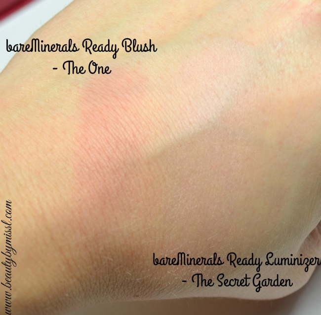 bareMinerals Ready Blush and Luminizer swatches
