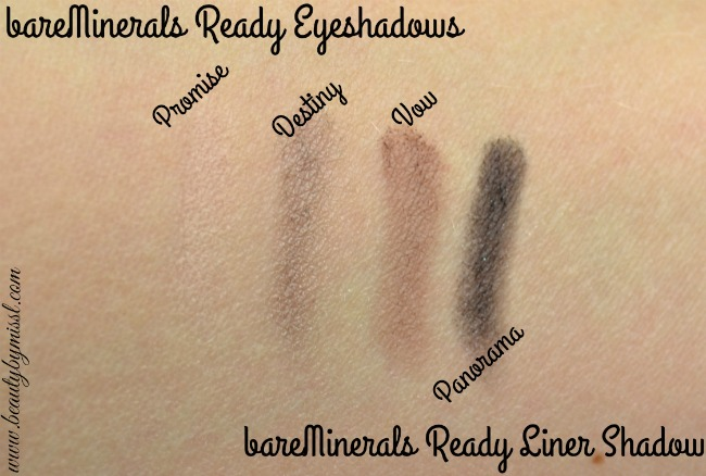 bareMinerals Ready Eyeshadows and Liner Shadow swatches