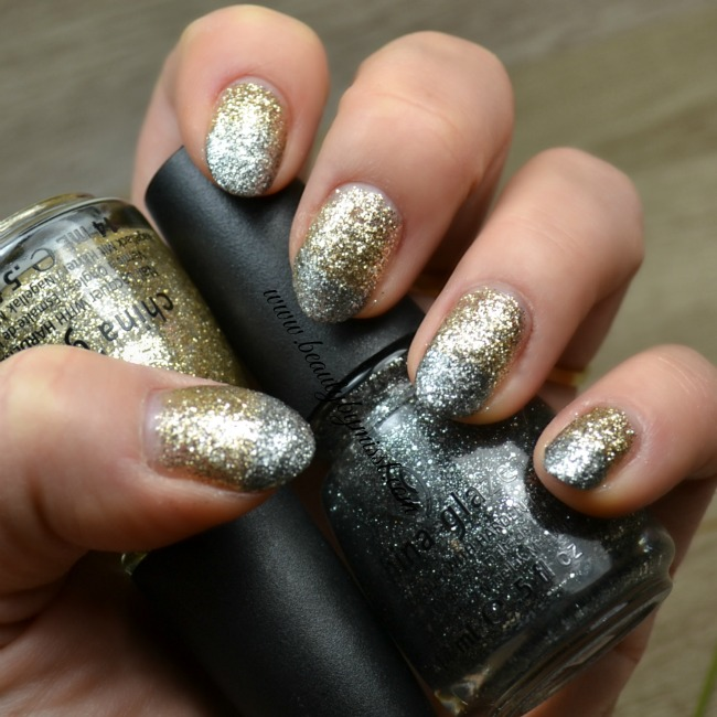 silver & gold glitter nails