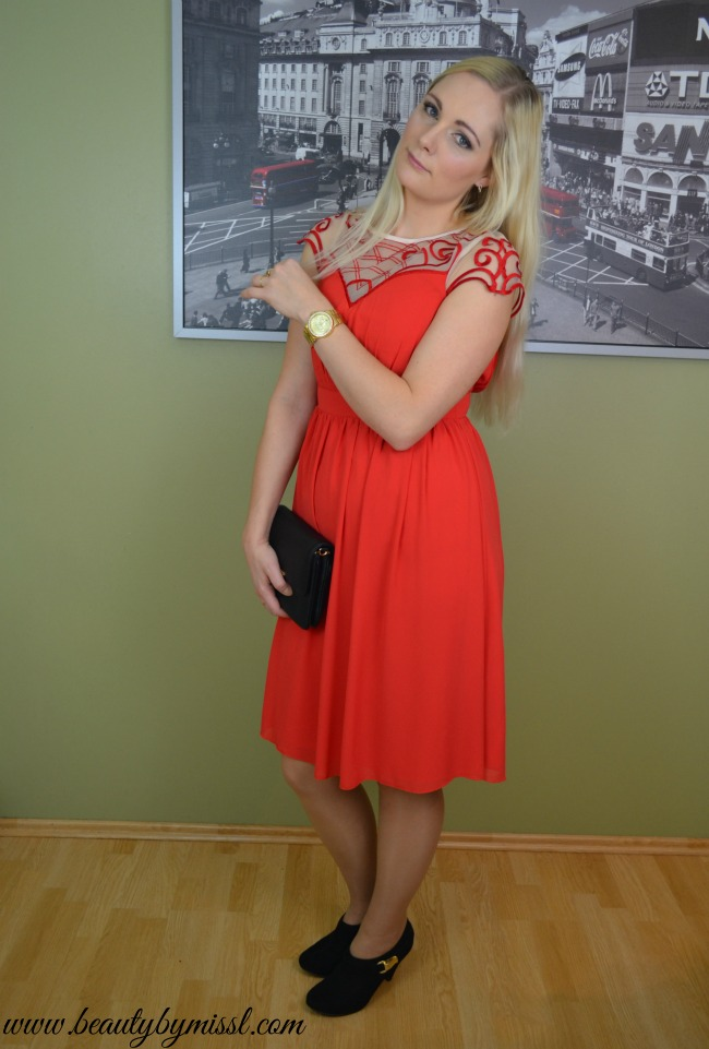 red Little Mistress Prom Dress With Embroidered Sleeve, Michael Kors bag and watch, New Look shoes