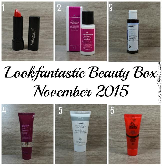 What's in Lookfantastic Beauty Box November 2015 box?