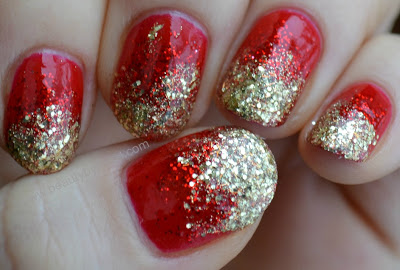 red and gold glitter Christmas manicure