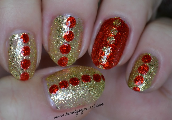Dotted red & gold glitter nails