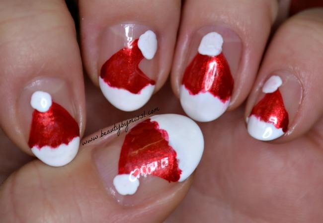 santa hats nail art