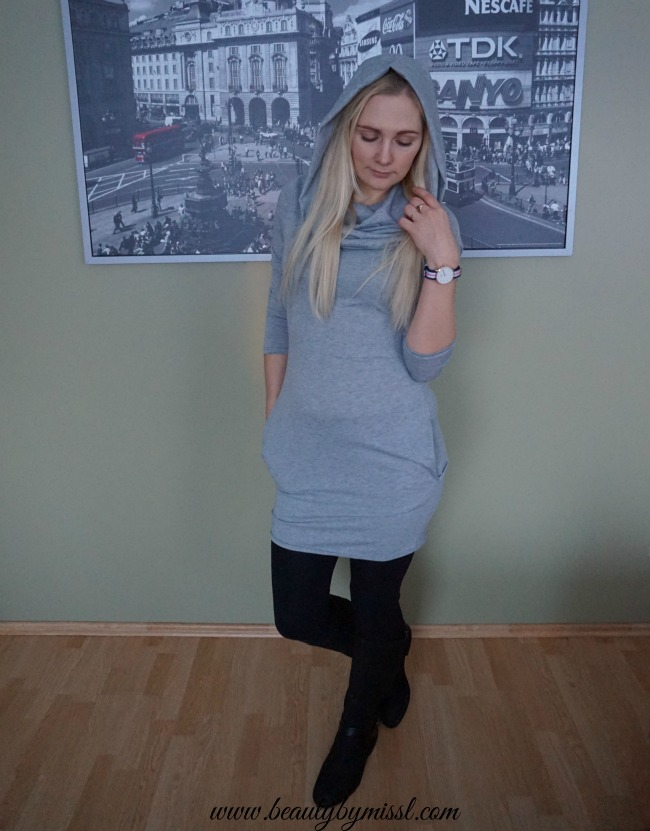 Shein Grey Cowl Neck Long Sleeve Slim Dress