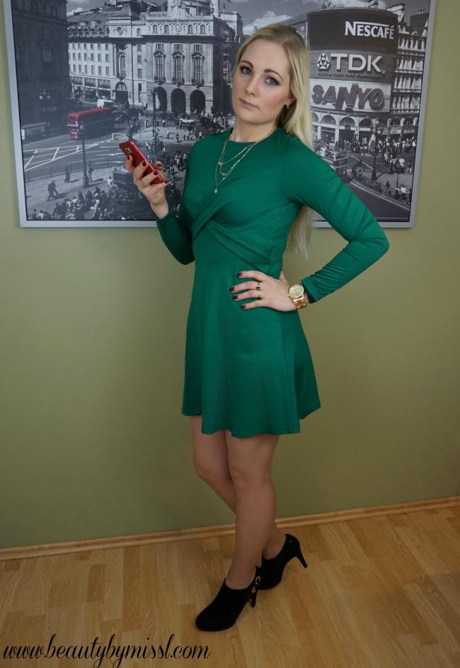 green long sleeve dress from SheIn