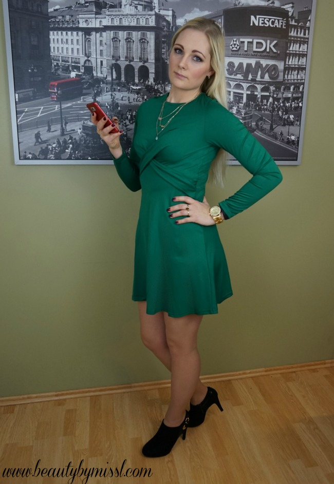 green long sleeve dress from SheIn