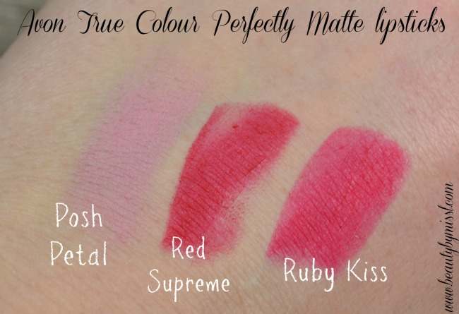 Avon True Colour Perfectly Matte lipsticks swatches