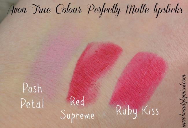 Avon True Colour Perfectly Matte lipsticks swatches