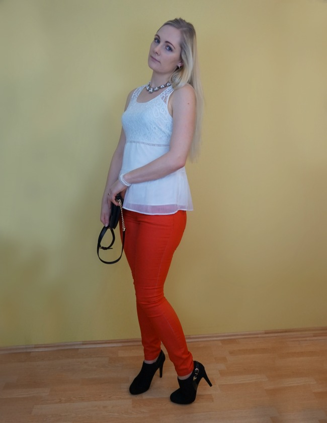 red, white and black outfit