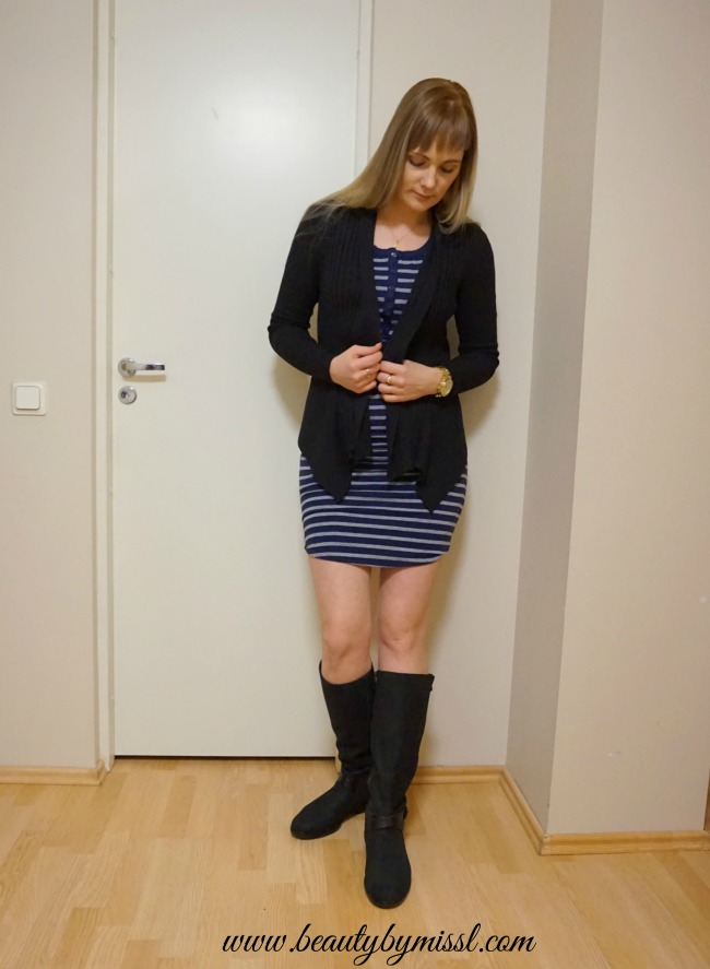 SUNDRY 3/4 Sleeve Henley Dress, Esprit cardigan, Ecco boots