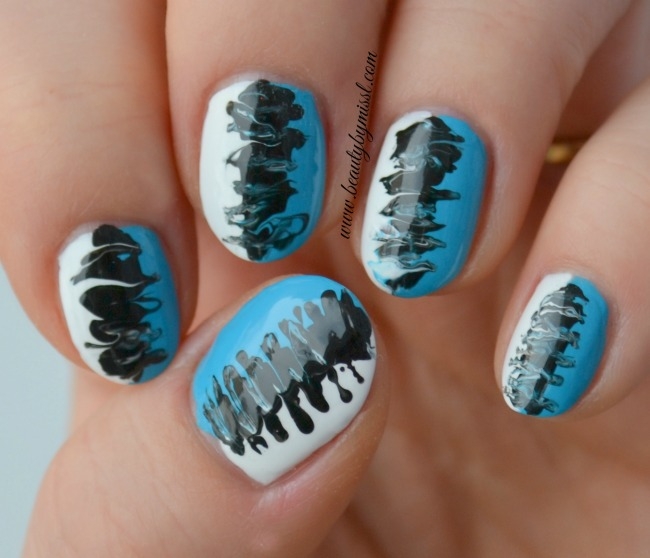 On my nails today: Blue, black and white