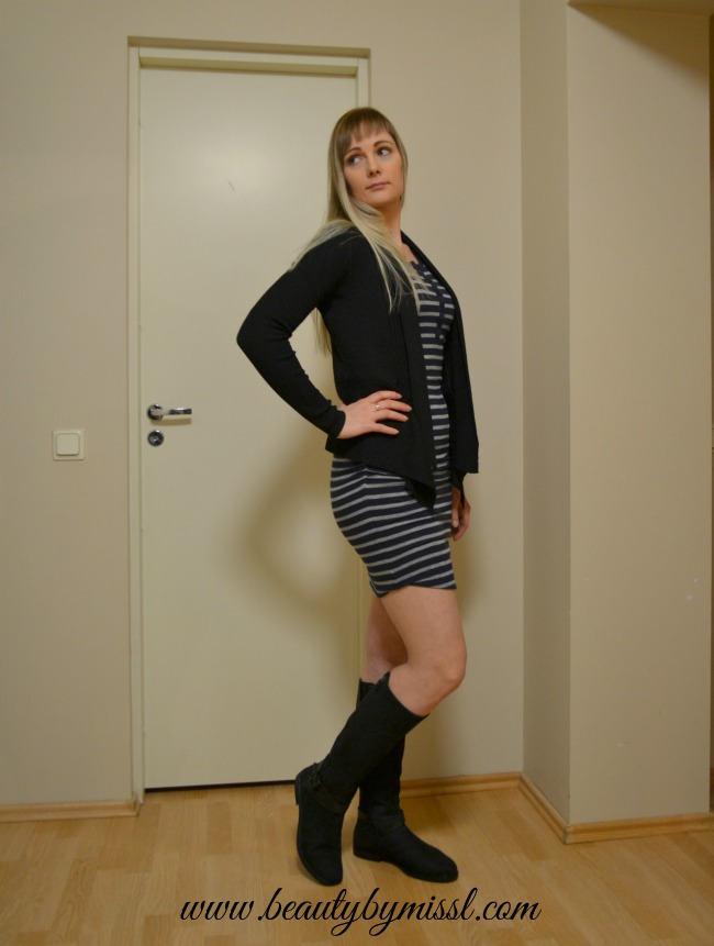 Striped dress and black cardigan