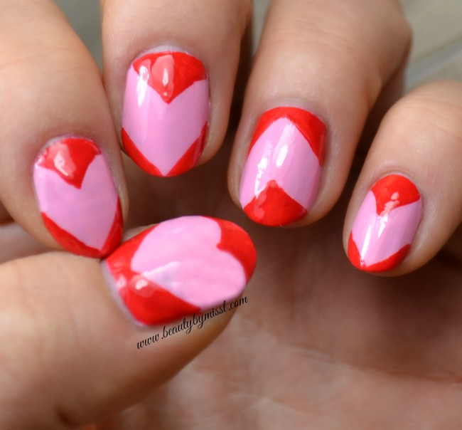 red and pink Valentine's Day themed nail art