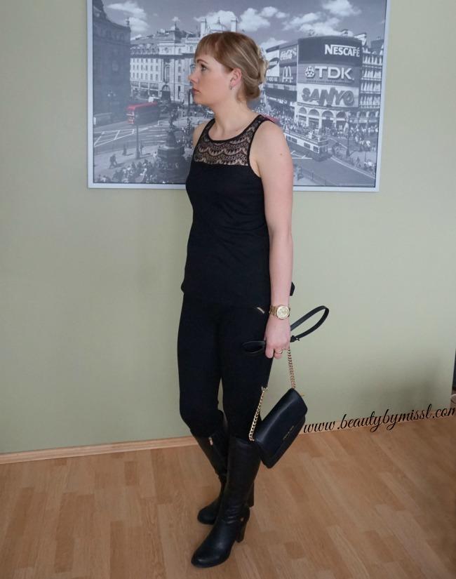 Jack BY BB DAKOTA RAI LACE TANK, Amisu pants, Czasnabuty boots, Michael Kors watch and crossbody bag