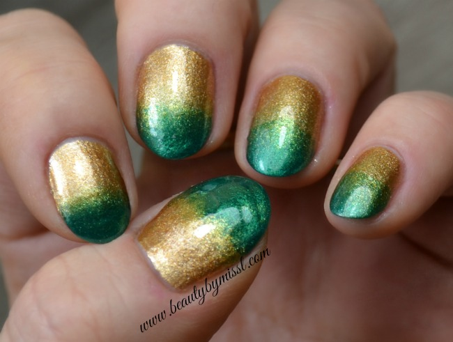 gold green ombre nails