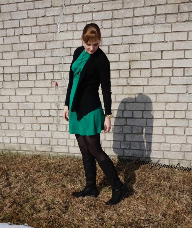 green and black outfit