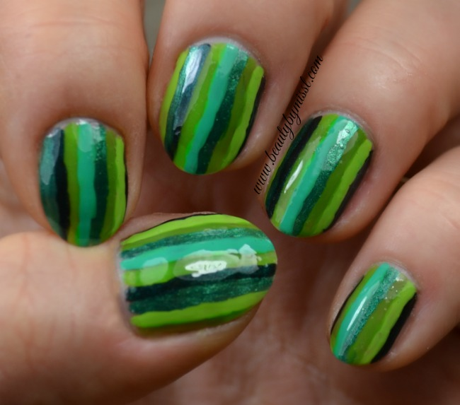 green striped nails