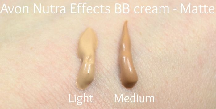 Avon Nutra Effects matte BB cream swatches