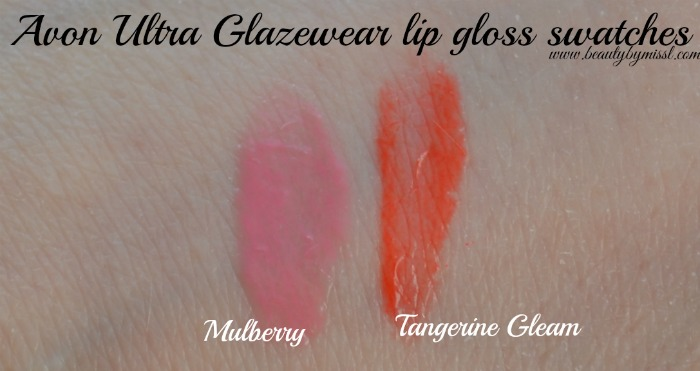 Avon Ultra Glazewear lip gloss Mulberry Tangerine Gleam swatches