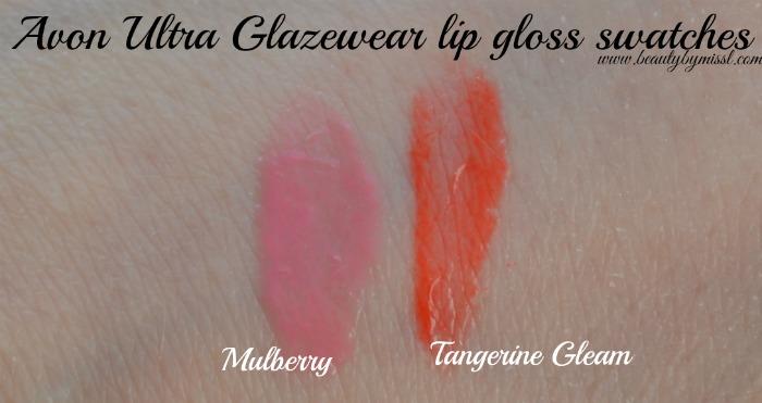 Avon Ultra Glazewear lip gloss Mulberry Tangerine Gleam swatches