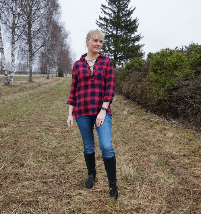 Checkered lace up shirt from SheIn, blue jeans, black boots