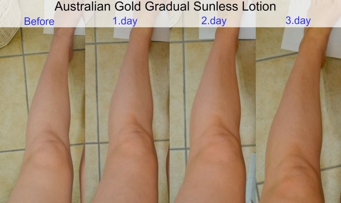 Australian Gold Gradual Sunless Lotion before after