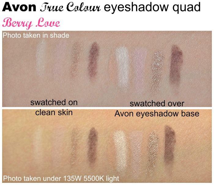 Avon True Colour eyeshadow quad Berry Love swatches