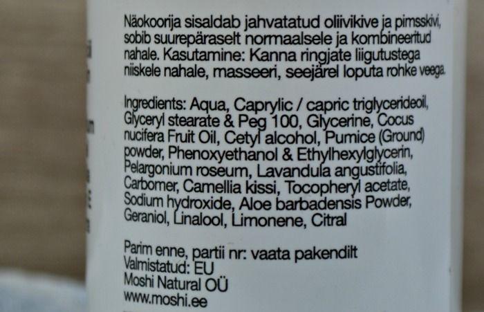 Moshi Anna Minna face scrub ingredients