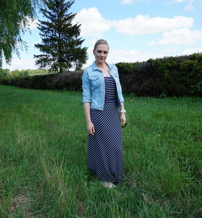 Striped maxi dress and denim jacket