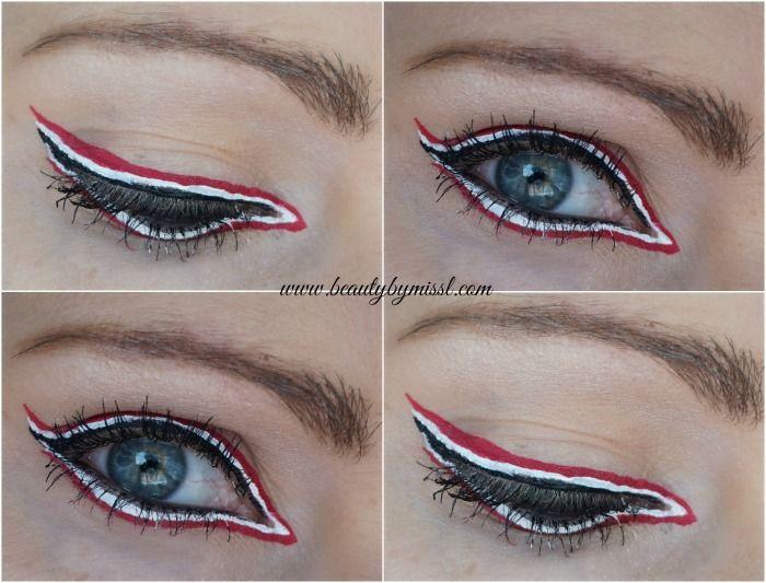 black white pink eyeliner