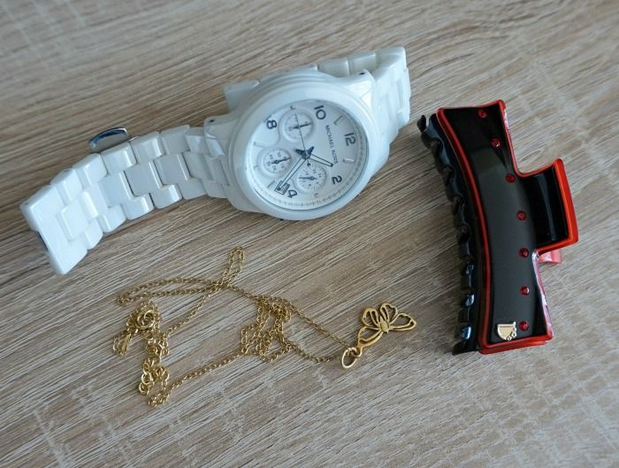 dondella hairclaw, Michael Kors watch, Lily Charmed butterfly necklace